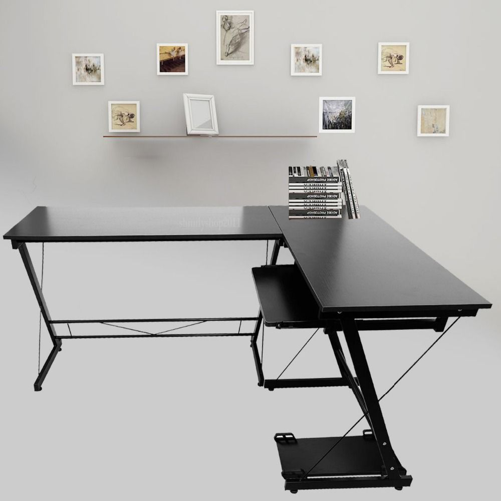 (Ship From DE) L Shape Designer Computer PC Table Home Study Office  Furniture