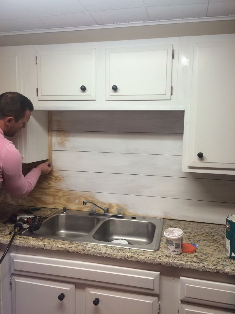 - Kitchenette Shiplap Backsplash Diy Kitchen Backsplash