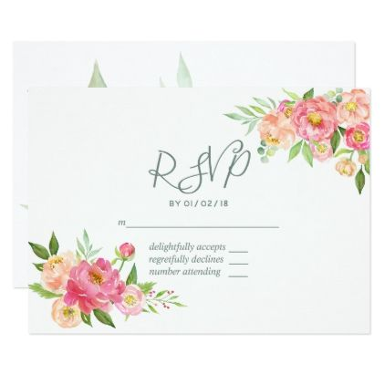 Spring Watercolor Peonies Wedding RSVP Card - spring wedding diy marriage customize personalize couple idea individuel