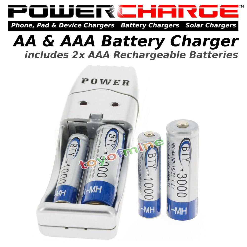Powercharge Battery Charger 2x Aaa 1000mah 1 2 V Ni Mh Bty 2x Aaa Battery Charger Aaa Battery Charger Device Chargers