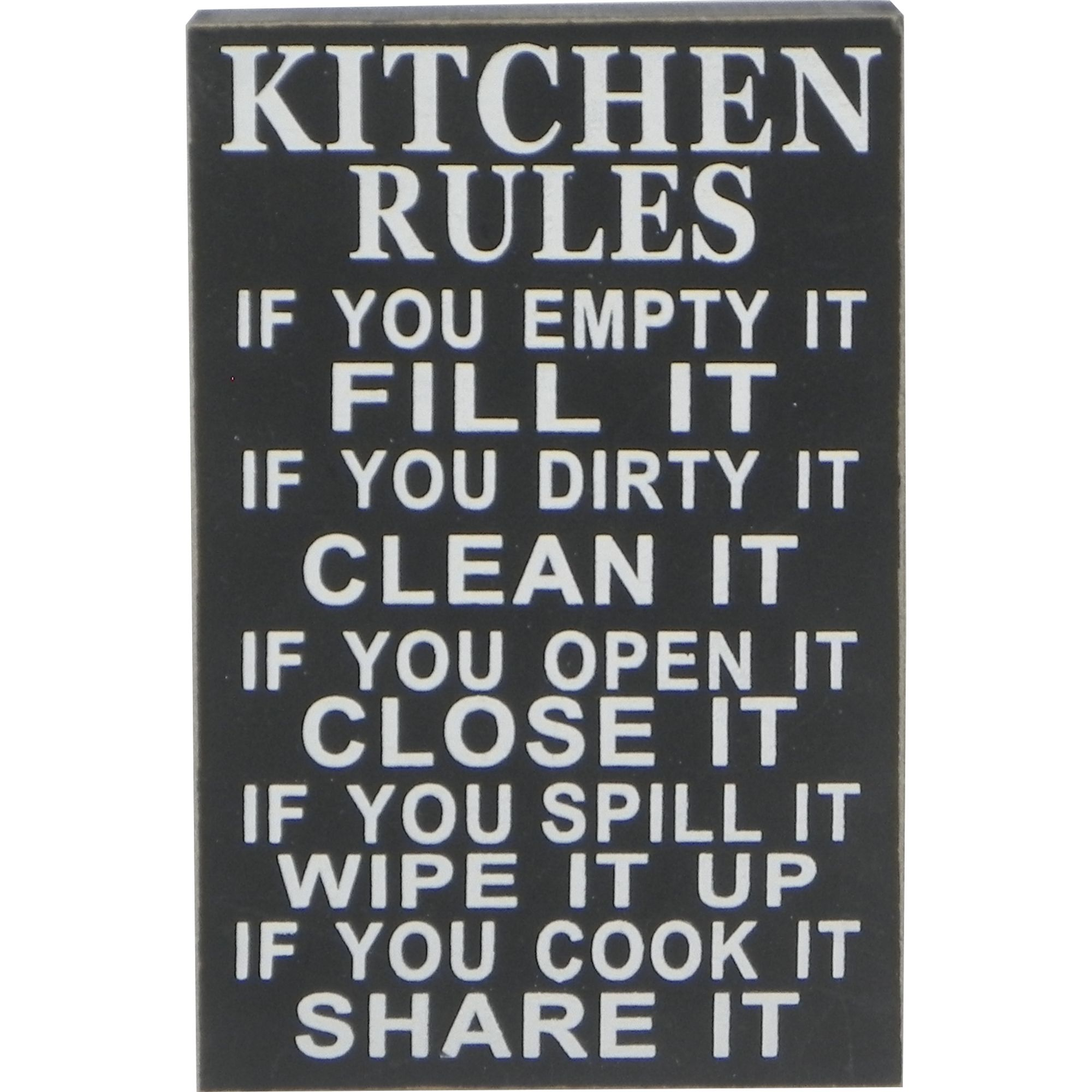 """Kitchen Rules Sign: """"Kitchen Rules"""" Sign In Black"""