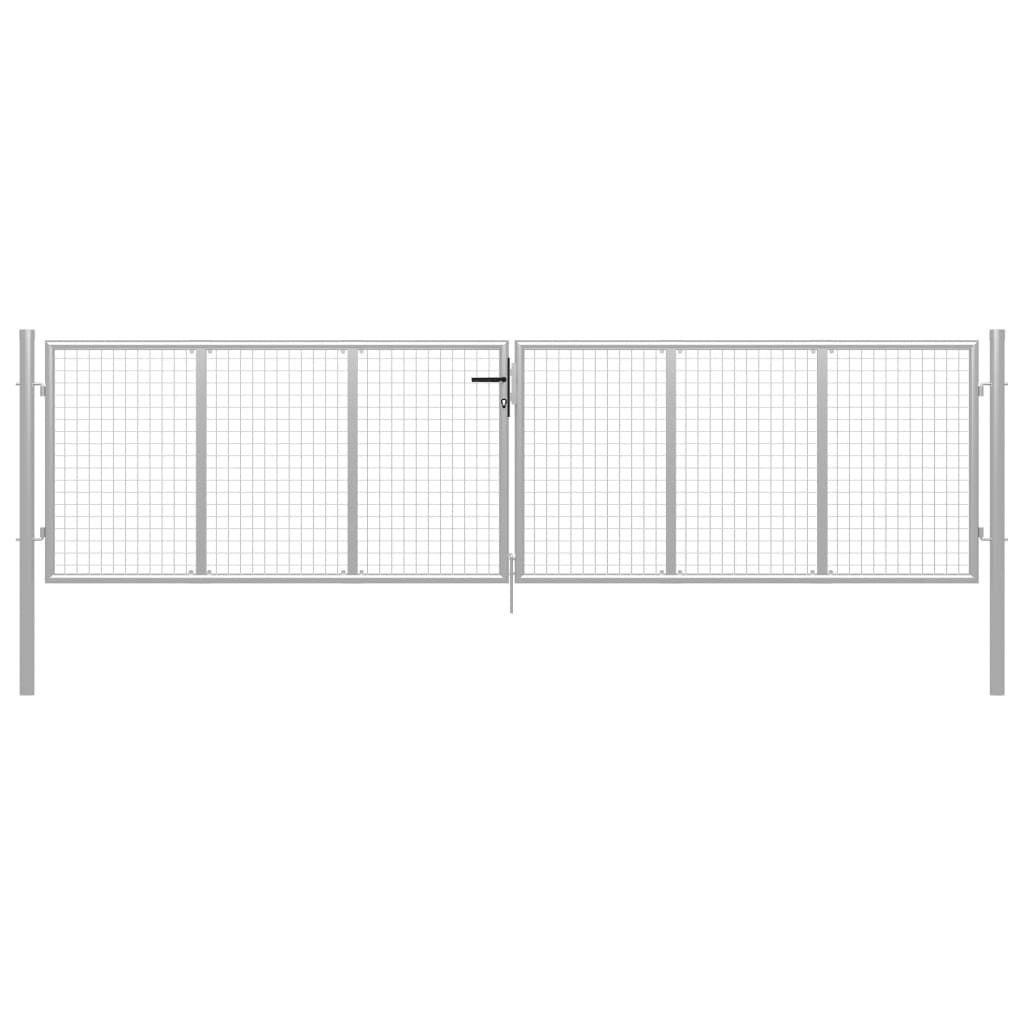 vidaXL Fence Door Silver 415 x 175 cm from Galvanized …