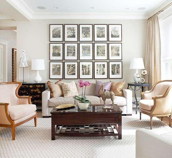 Fotowand gestalten wohnzimmer neutrale farbgebung Fotowände - wohnzimmer gestalten beige