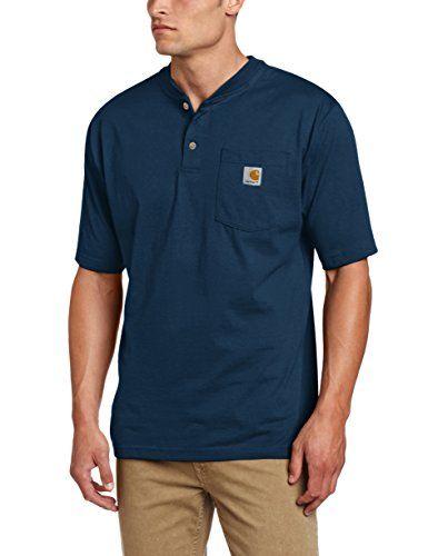 Carhartt Mens Workwear Pocket Henley Shirt Black