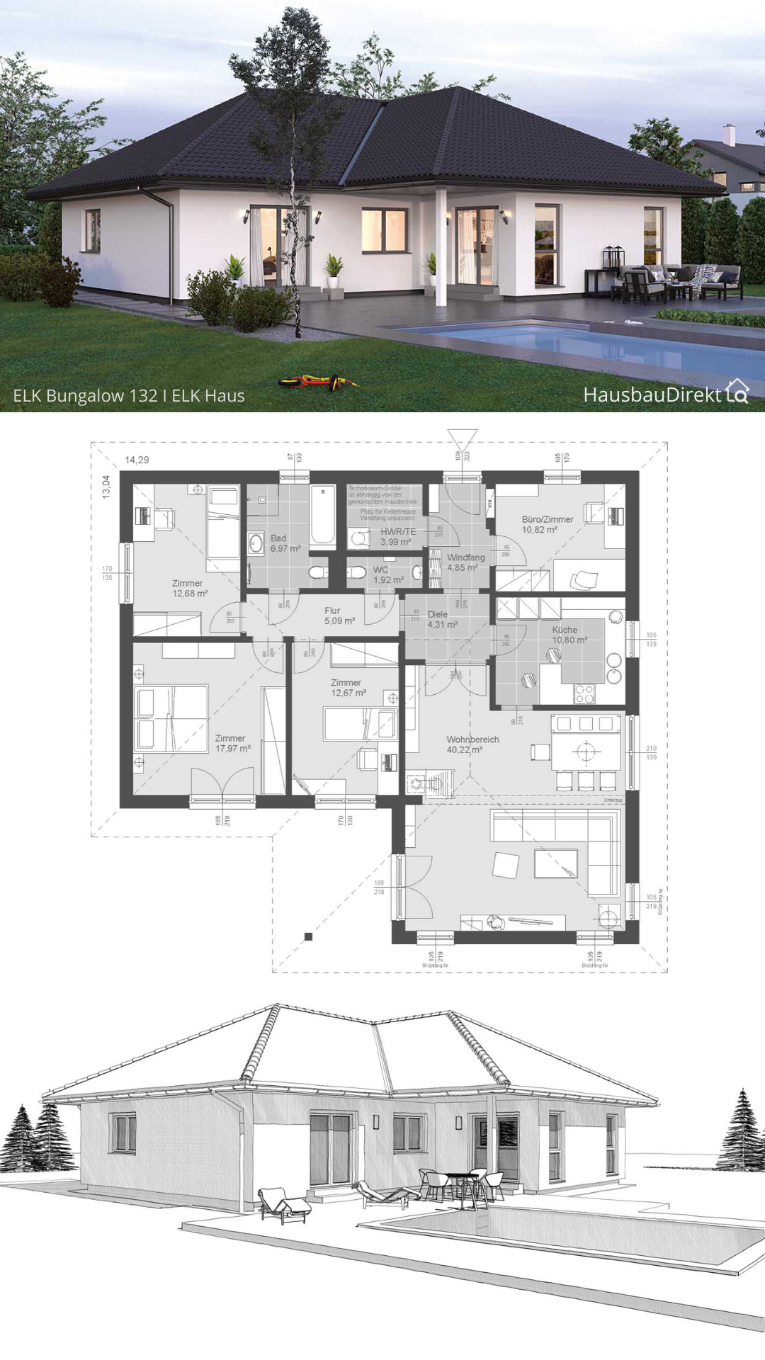 Bungalow Haus Design modern mit Walmdach & Pool Terrasse bauen Fertighaus Winkelbungalow Grundriss