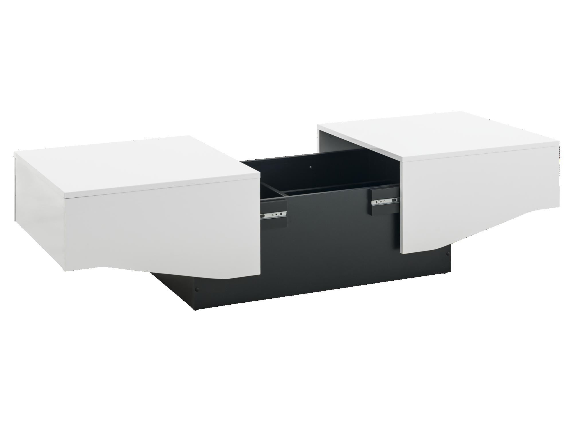 table basse coffre blanc et noir laque