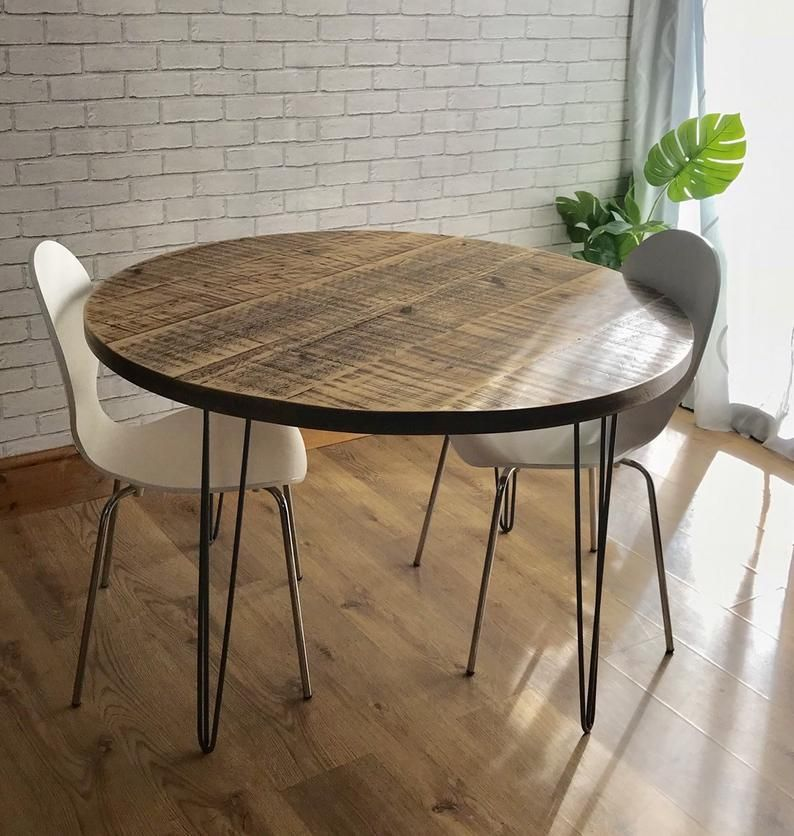 Round Dining Table Oak Round Table Hairpin Steel Legs Industrial Design Modern Style Loft Style Bespoke Furniture Bram Wood Vozeli Com