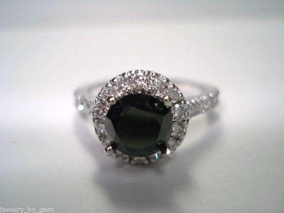This is pretty much my dream ring  169Ct Fancy Black & White Diamonds Engagement by JewelryByGaro, $1650.00