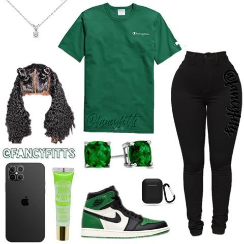 "Daily Outfit Inspo✌ on Instagram: ""Which feature do you want? _ _ _ #green #champion #nike #jordans #jordan #apple #lipgloss #baddieoutfit #bun #diamonds"" #elbiseler"