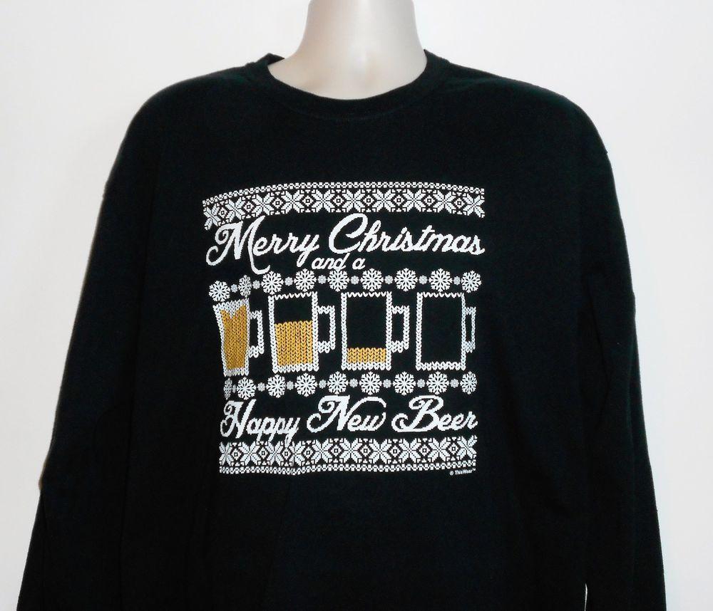 Funny MERRY XMAS & HAPPY NEW BEER Black T-Shirt Men Size XL ~Great! #Gildan #TShirt