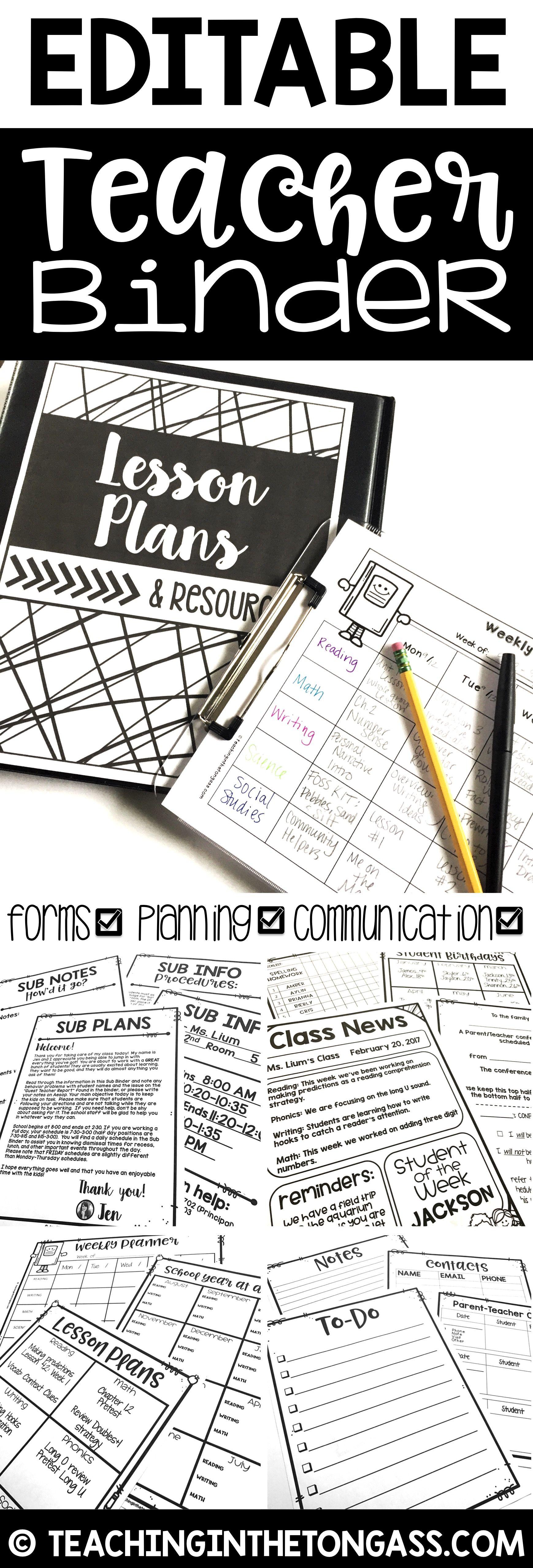 Teacher Binder Editable Teacher Planner Lesson Plan Template