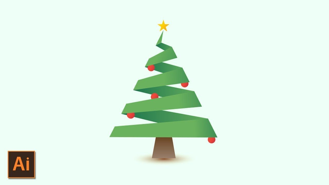 Christmas Tree Logo Design With Gradients Adobe Illustrator Tutorial Tree Logo Design Christmas Tree Logo Illustrator Tutorials