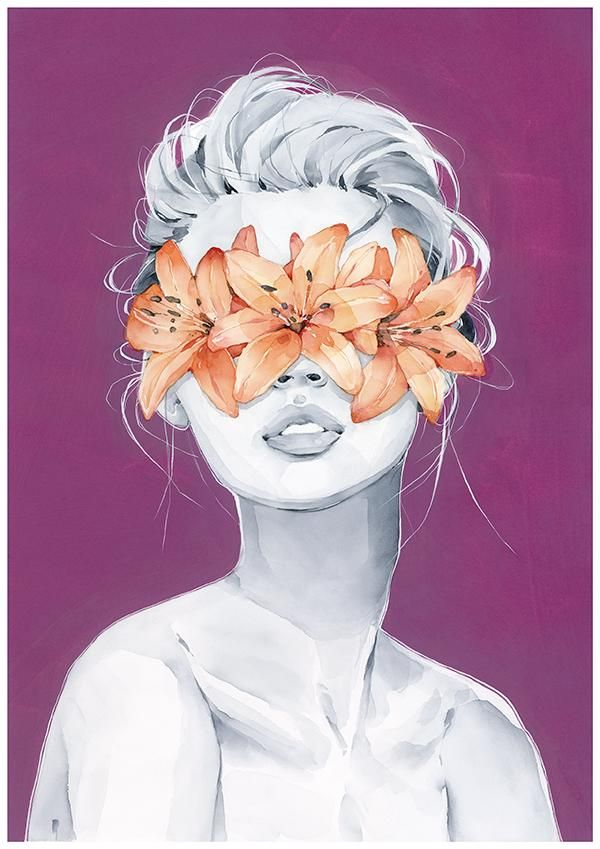 Lily blindfolded girl from my wall art print collection Watercolor fine art Great for framing and room decor - #drawingsPoses #MaleDemon