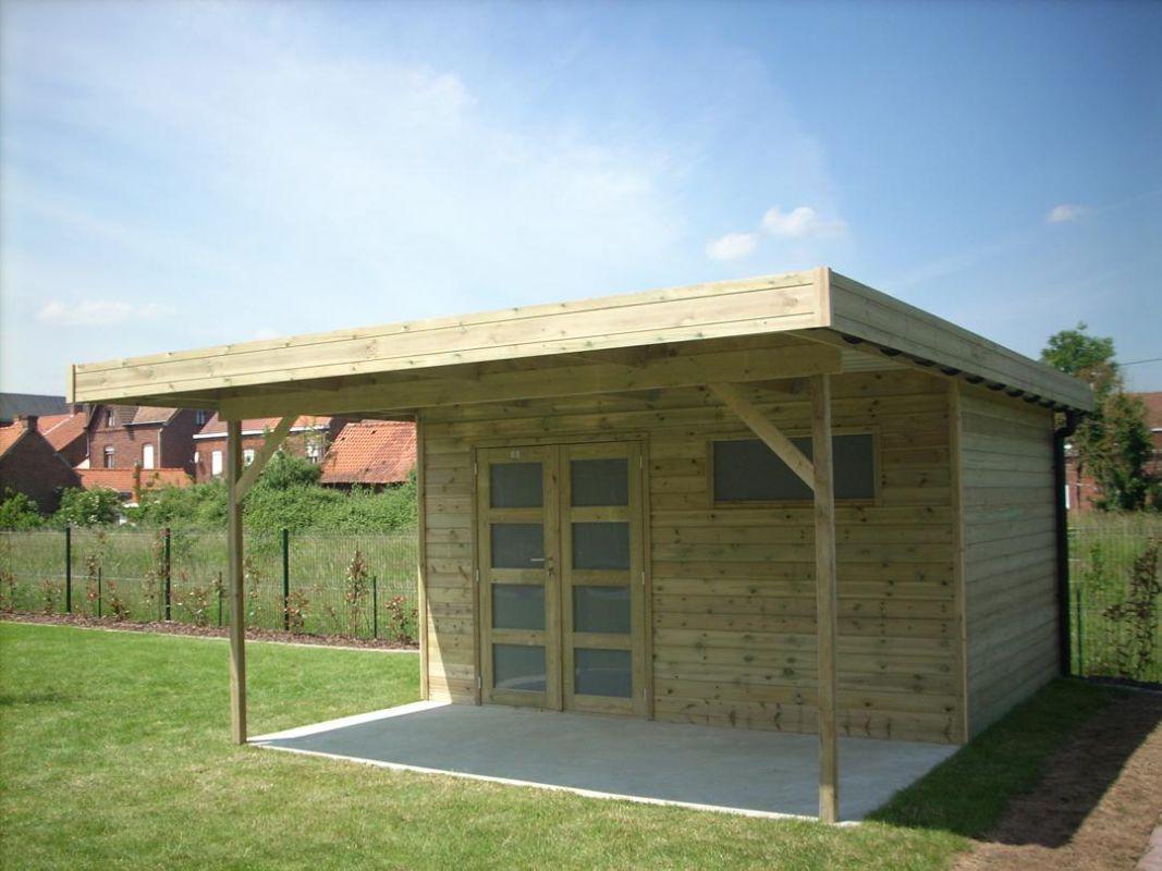 Abri de jardin toit plat en bois, avec avancée de 3 mètres ...