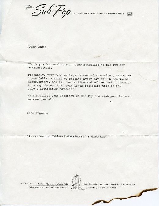 Standard form rejection letter from Sub Pop records Music - rejection letter
