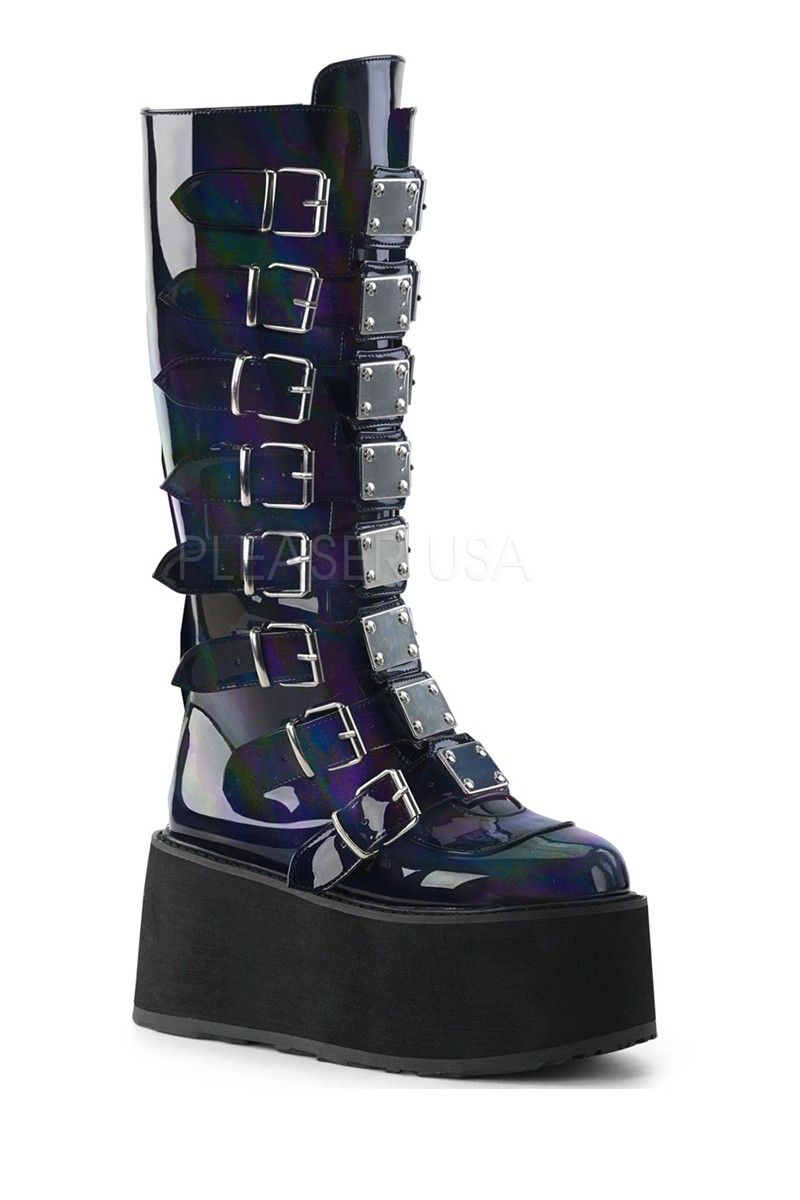d5df9faaf3b Black Hologram Platform Knee High Boot Faux Leather in 2019