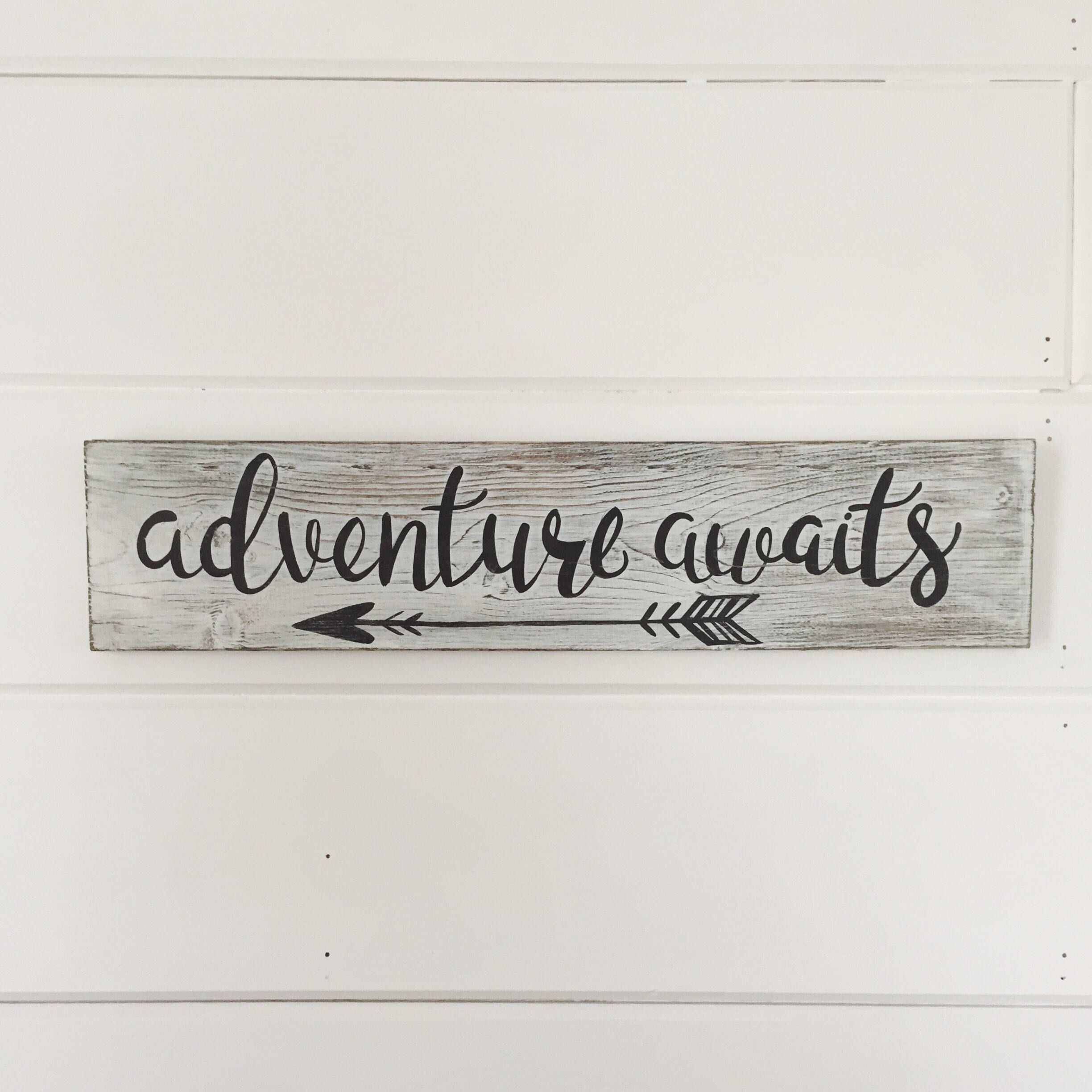 "Travel Themed Bedroom For Seasoned Explorers: Hand Painted ""Adventure Awaits"" Sign / Wanderlust Sign"