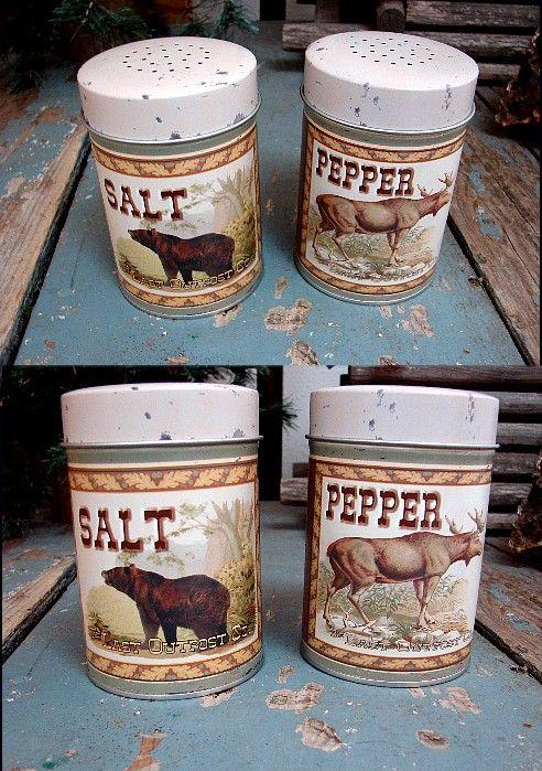BLACK BEAR /& MOOSE SALT /& PEPPER SHAKERS SET Rustic Lodge Outpost Cabin Decor