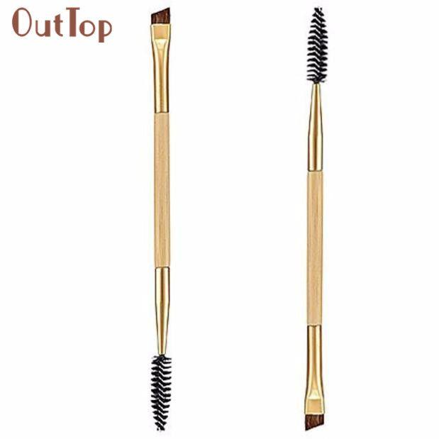 Beauty Girl 1 UNIDS Maquillaje Asa De Bambú Doble Cepillo de Cejas + Peine de Cejas Cepillo Definidor de Ojos Profesional Small Angle Brush Aug15