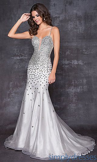 Long Spaghetti Strap Silver Gown At Prom