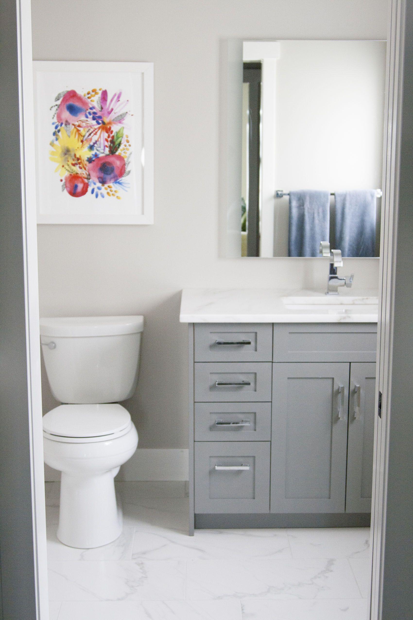 48 inch grey vanity Chelsea Grey Ensuite Overhaul Miter Renovations & Design