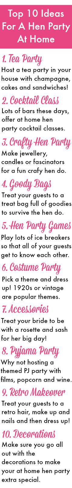 top 10 ideas for a hen party at home here are our essentials