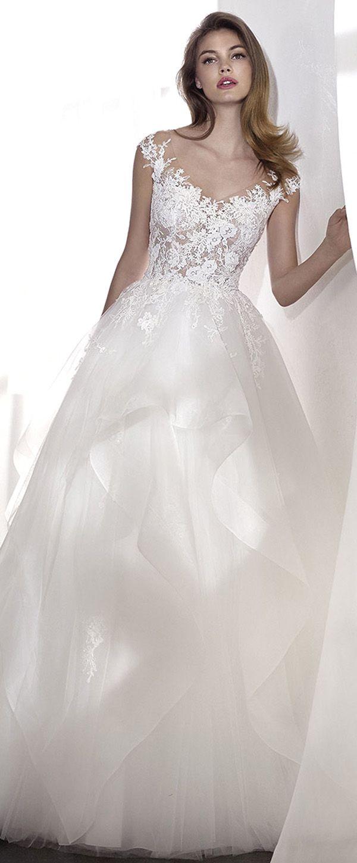 Graceful tulle u lace vneck neckline aline wedding dress with