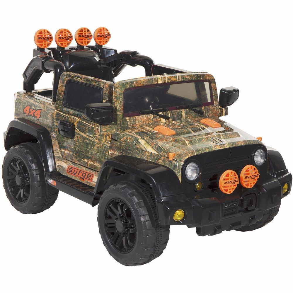 Electric Cars For Kids To Ride Camo 4 X Grill Atv Tires Toddler Fog Lights 6v Surge