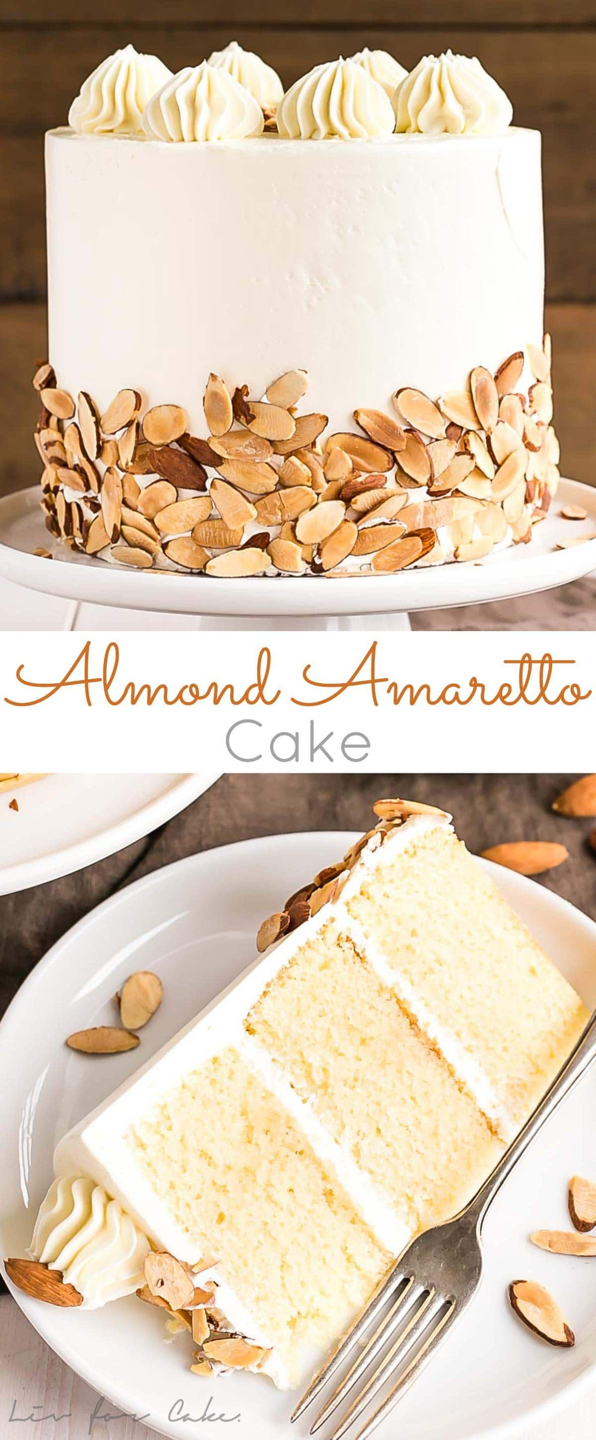 Almond Amaretto Cake is a must for any almond lover! Almond cake layers infused with Amaretto liqueur paired with a classic vanilla buttercream. |