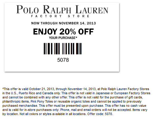 Ralph Lauren Factory coupon & Ralph Lauren Factory promo code from The  Coupons App. off at Polo Ralph Lauren Factory locations October