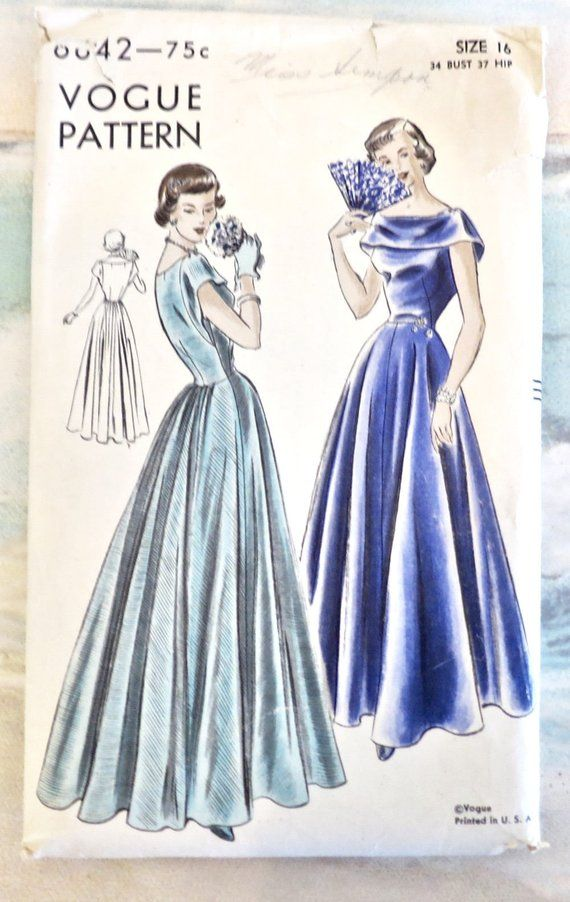 12e184298a04 Vintage 1940s Womens Evening Dress Pattern - Vogue 6642 | Products ...