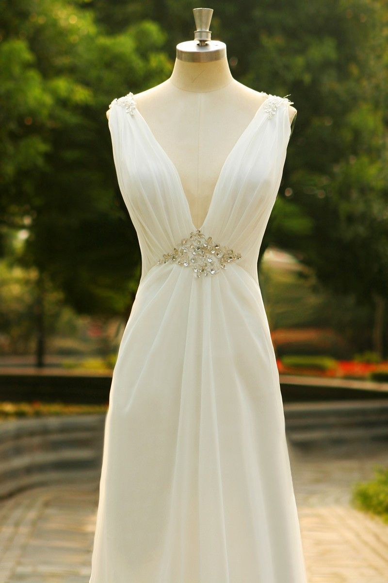 Charming vneck long chiffon beach wedding dress sd