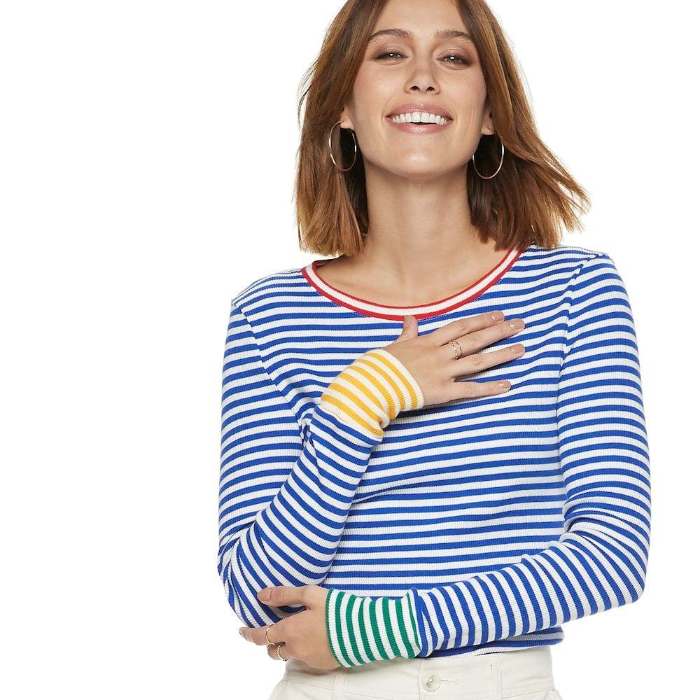 9099248addb Women s Popsugar Contrast-Stripe Crewneck Sweater
