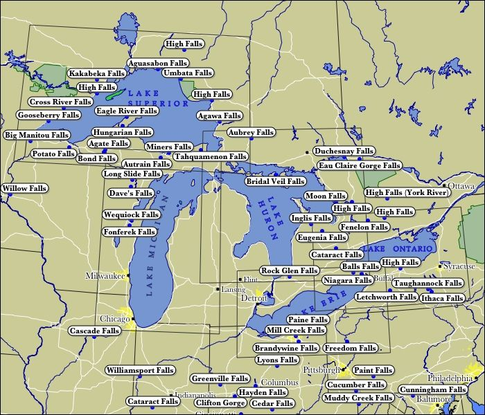 Interactive Map of WaterFalls in the Great Lakes Region with ...