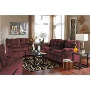 rustic julson burgundy living room set | Signature Design by Ashley Julson - Burgundy Casual ...