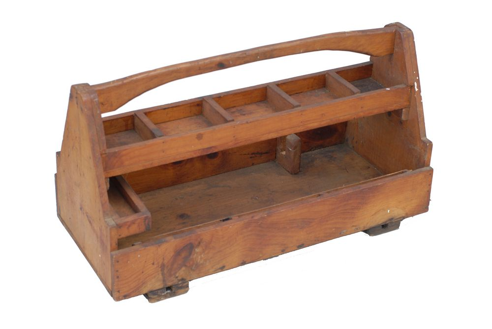 Vintage American carpenters\' tool box. CIRCA: 1900\'s DIMENSIONS ...