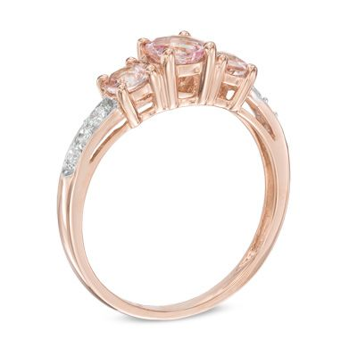 5 0mm Morganite And 1 10 Ct T W Diamond Three Stone Engagement Ring In 10k Rose Gold Three Stone Engagement Rings Yellow Gold Engagement Rings Three Stone Engagement