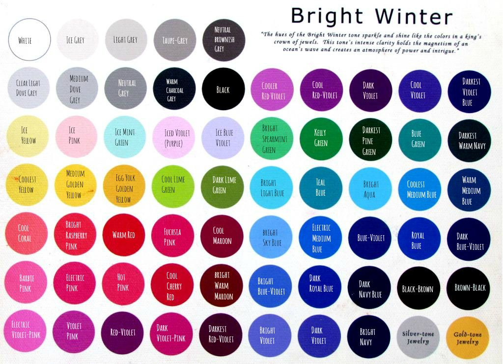 Names For Bright Winter Colors Handy To Know Link Larger Version