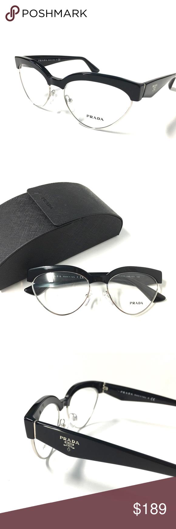5e5d84eb293c New Women s Cat Eye Prada Eyeglasses Black Silver New Women s Cat Eye Prada  Optical Frame Black Silver Includes Prada Case only! 54-16-140 100%  Authentic ...