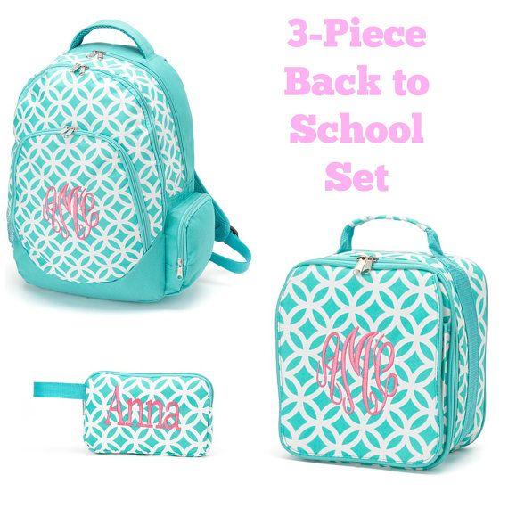 Monogrammed Girls Aqua Backpack Lunch Bag by MrsMcKenziesMonogram