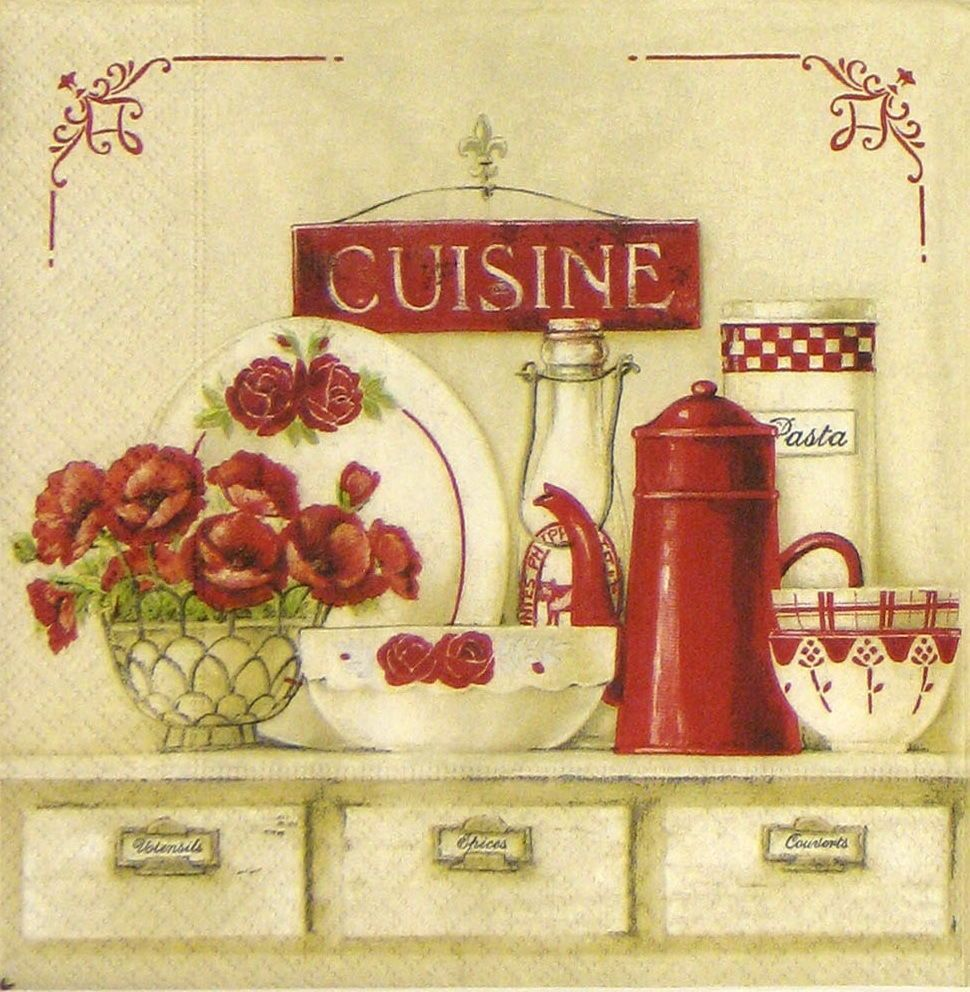 4x shabby cuisine paper napkins for decoupage craft