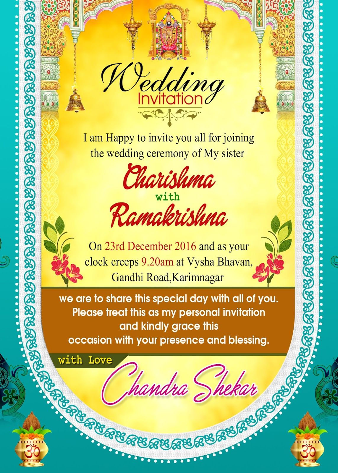 Single Page Email Wedding Invitation DIY Template Indian