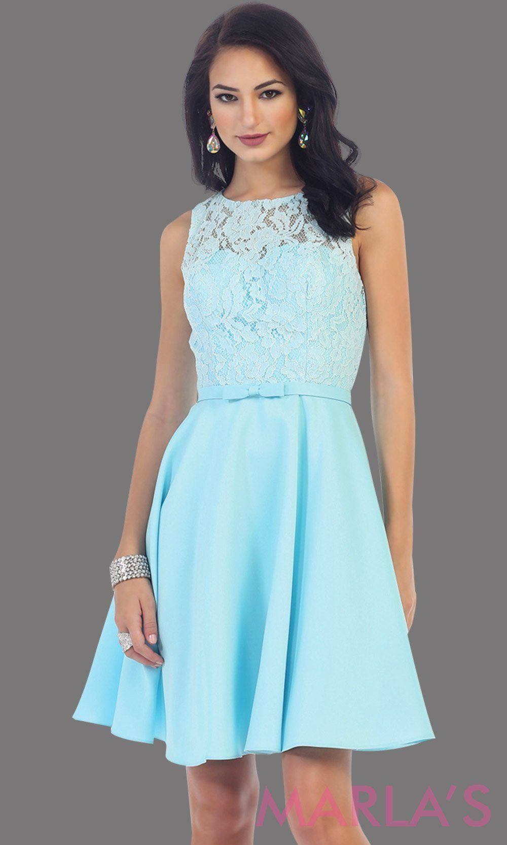 8da7e1dcf16 Short simple semi formal aqua blue dress with lace bodice and satin skirt.  Light blue dress is perfect for grade 8 grad