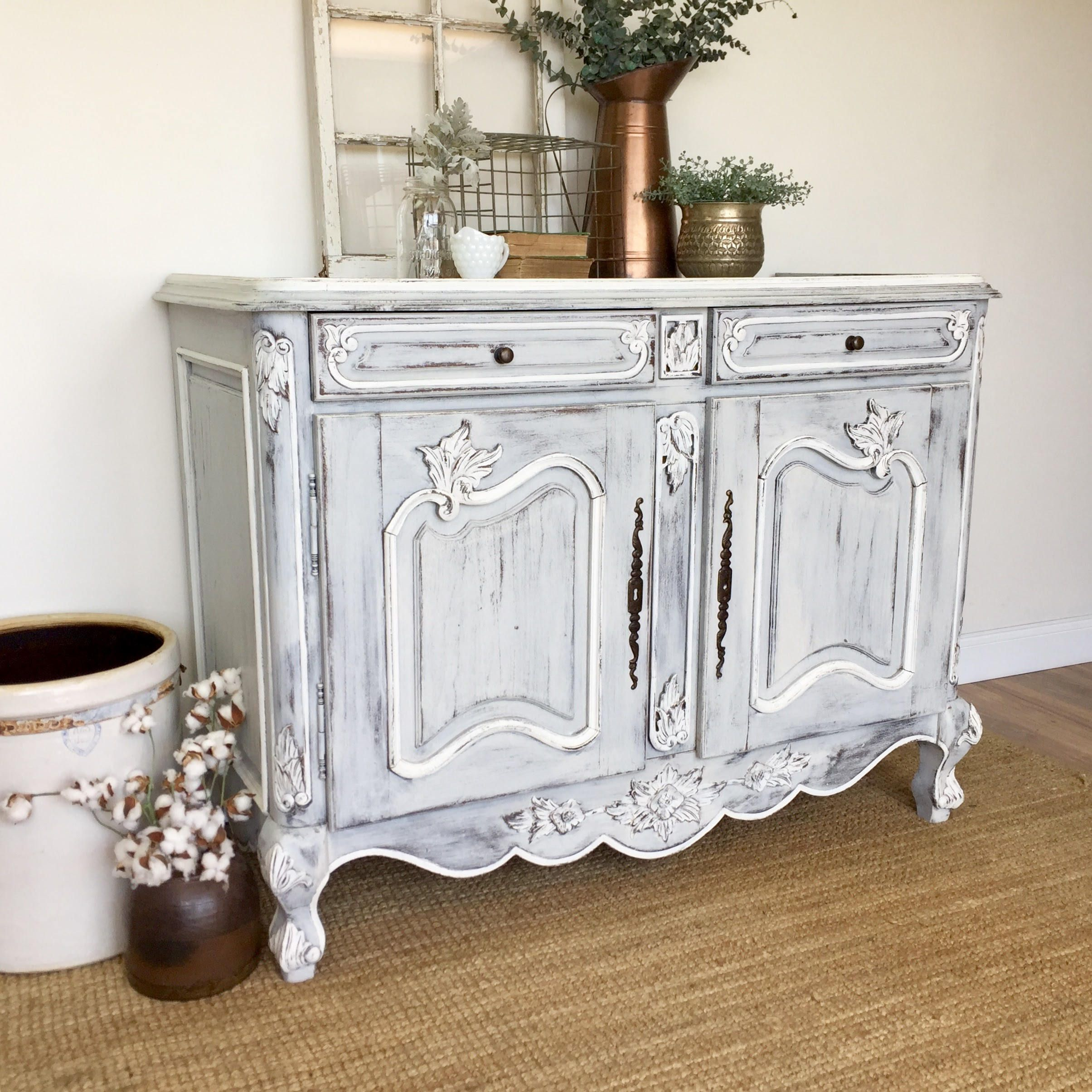 Antique Sideboard Buffet French Country Furniture Vintage Home Decor