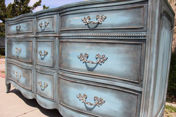 Mobili Pitturati ~ Sold vintage french provincial dresser by drexel blue grey