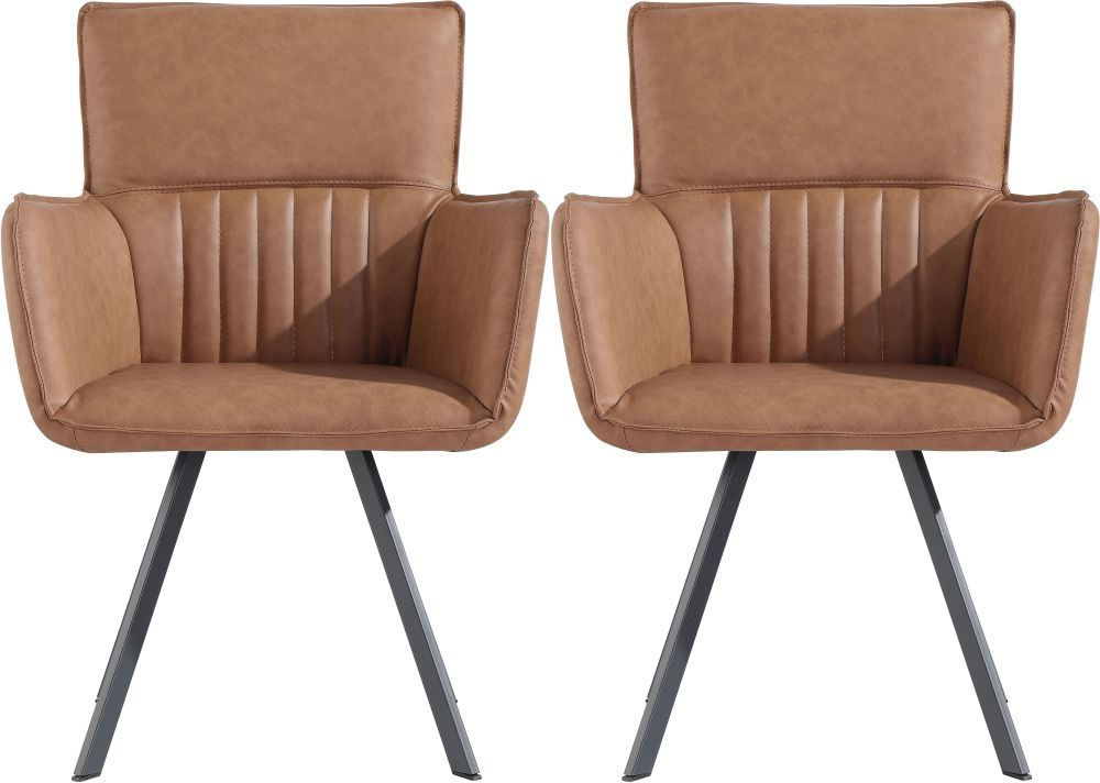 Cary Tan Faux Leather Dining Chair Pair In 2020 Faux Leather Dining Chairs Dining Chairs Chair
