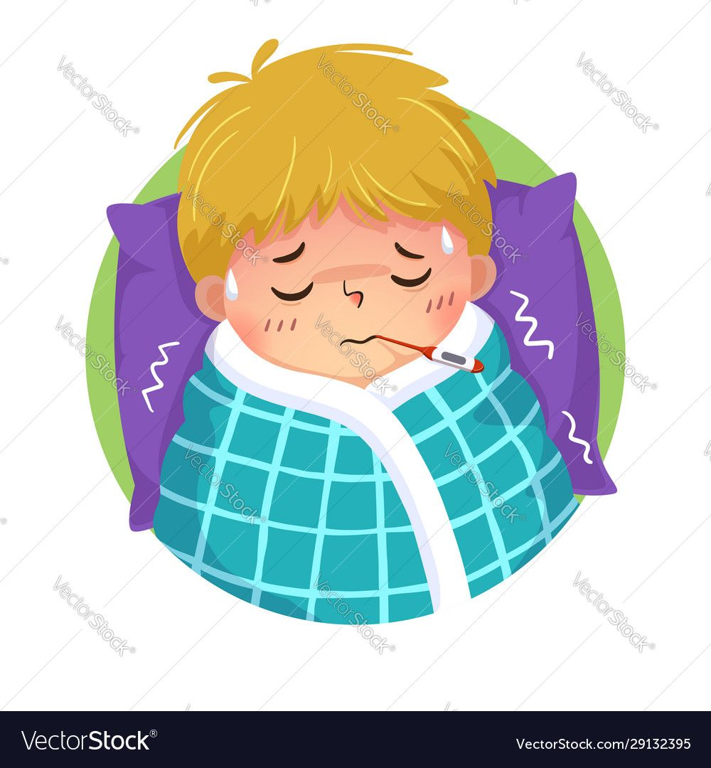 Cartoon boy having cold and fever vector image on VectorStock
