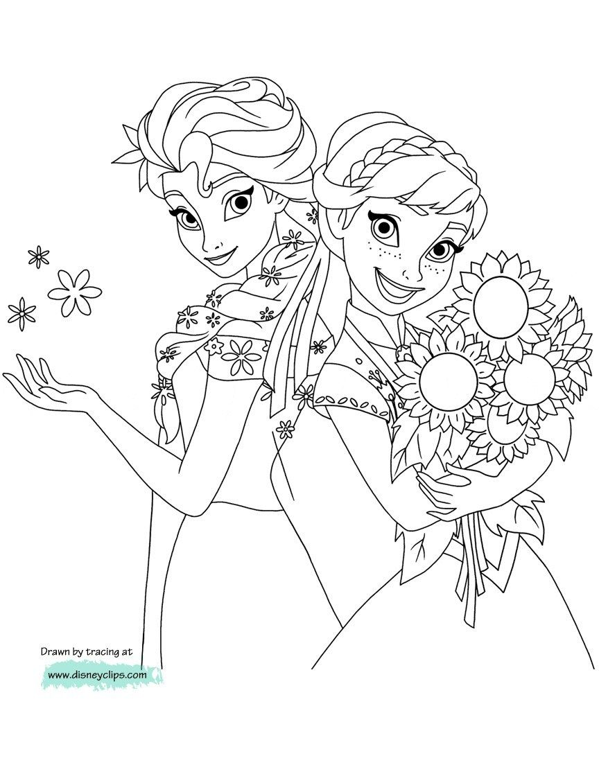 Anna And Elsa Coloring Pages Disneys Frozen Coloring Pages 2