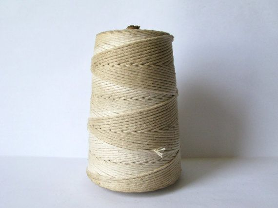 Vintage Industrial Size Cone Spool of Cotton Twine by Sfuso