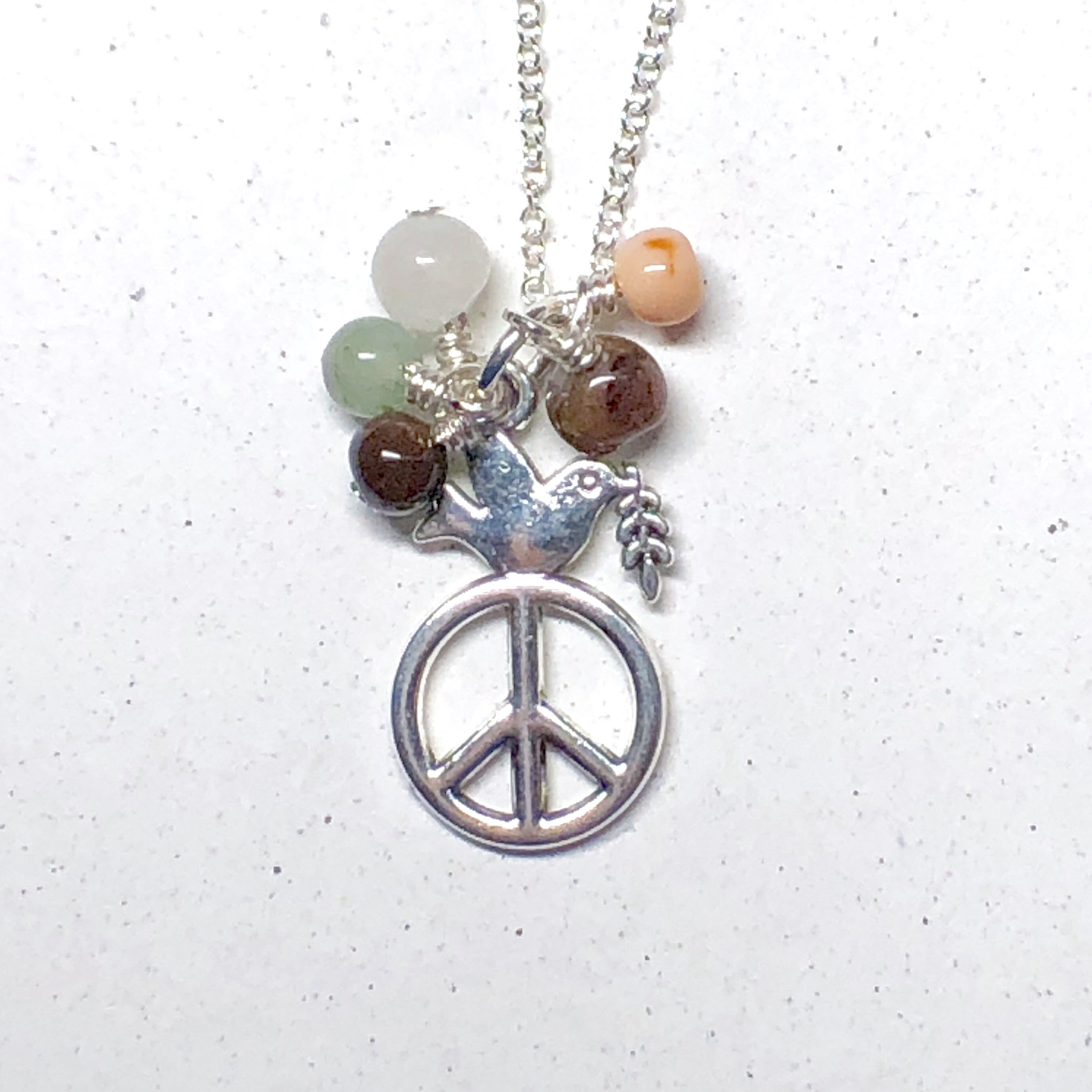 Peace Symbol Pendant with Crystals in Sterling Silver